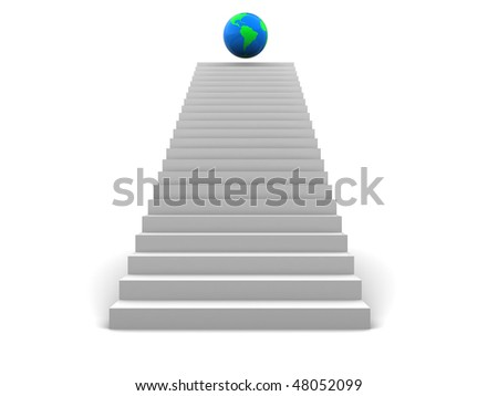 abstract 3d illustration of stairway to earth globe - stock photo