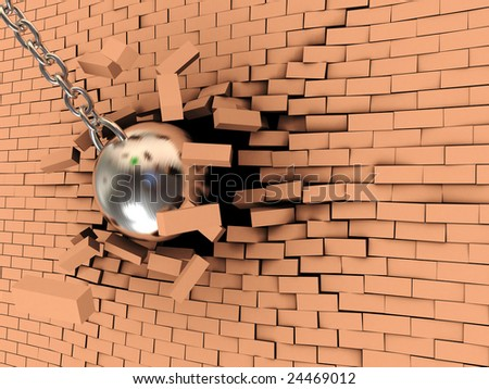 abstract 3d illustration of steel ball on chain breaking wall