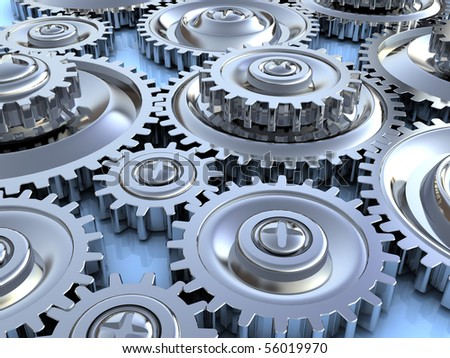 abstract 3d illustration of steel gear wheels background - stock photo