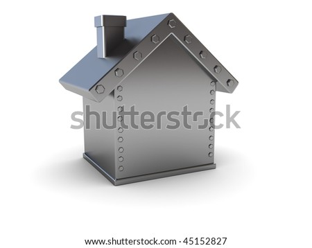 abstract 3d illustration of steel house safe over white background - stock photo