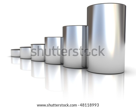 abstract 3d illustration of steel raising charts over white background - stock photo