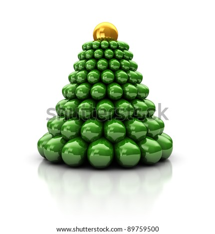 Abstract 3d illustration of stylized christmas tree, over white background - stock photo
