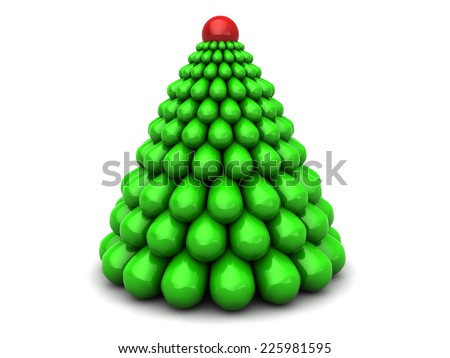 abstract 3d illustration of stylized xmas tree, over white background - stock photo