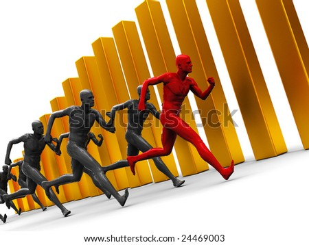 abstract 3d illustration of team with leader running over golden bars - stock photo