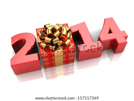 abstract 3d illustration of text 2014 with present box, over white background - stock photo