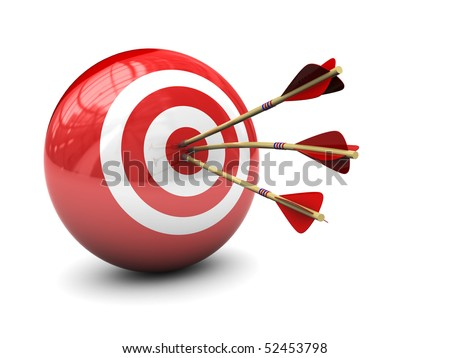 abstract 3d illustration of three arrows in target - stock photo