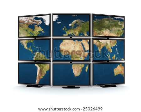 abstract 3d illustration of tv wall with world map on it - stock photo