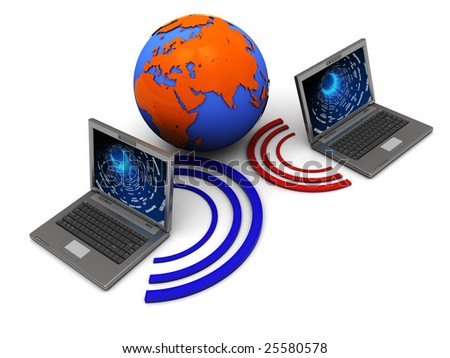 abstract 3d illustration of two laptops wireless connected and globe