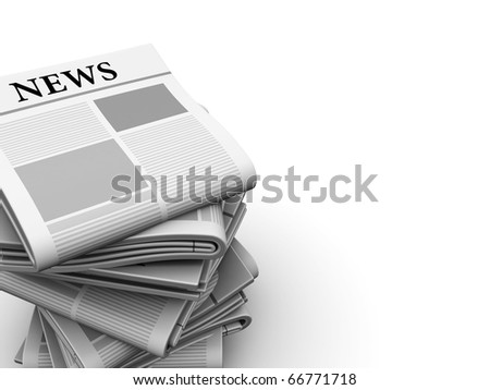 abstract 3d illustration of white background with newspapers at left side - stock photo