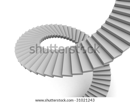 abstract 3d illustration of white spiral stairs - stock photo