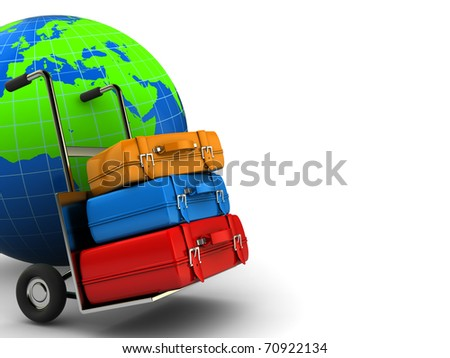 abstract 3d illustration of world globe and luggage cases - stock photo