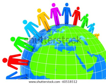 abstract 3d illustration of world with colorful people, over white background - stock photo