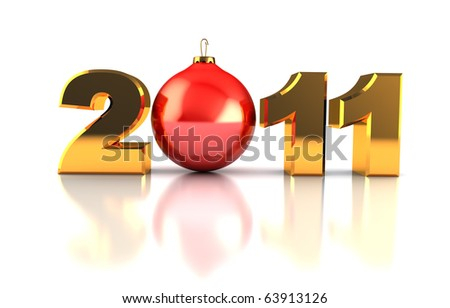 abstract 3d illustration of 2011 xmas symbol, over white background