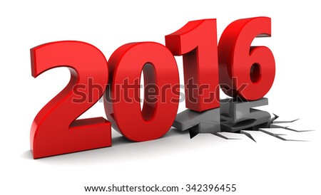 abstract 3d illustration of 2016 year hit 2015, over white background - stock photo
