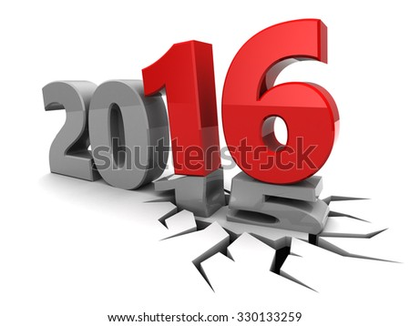 abstract 3d illustration of year 2015 to 2016 change concept - stock photo