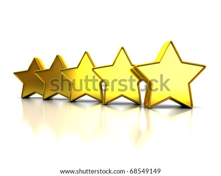 abstract 3d illustration of yellow stars rating symbol, over white background - stock photo