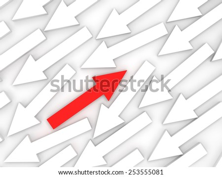 Abstract 3d illustration, one red arrow goes opposite in white group - stock photo