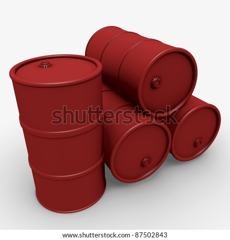 Abstract 3d illustration: Red barrels over white - stock photo