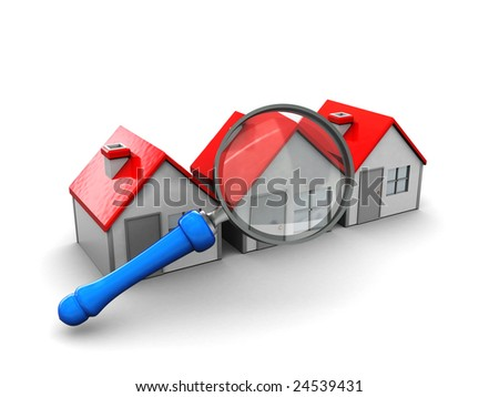abstract 3d illustration, searching for perfect house symbol - stock photo