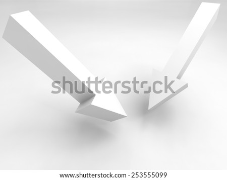 Abstract 3d illustration. Two arrow signs and soft shadow - stock photo