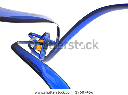 Abstract 3D illustration with blue lines