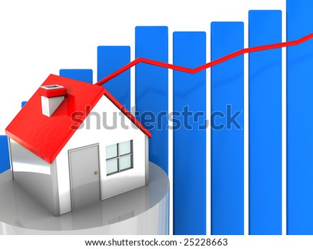 abstract 3d illustration with house and growing diagram - stock photo