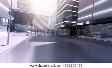 Abstract 3D image of stylized city streets with stylized symbolic skyscrapers - stock photo