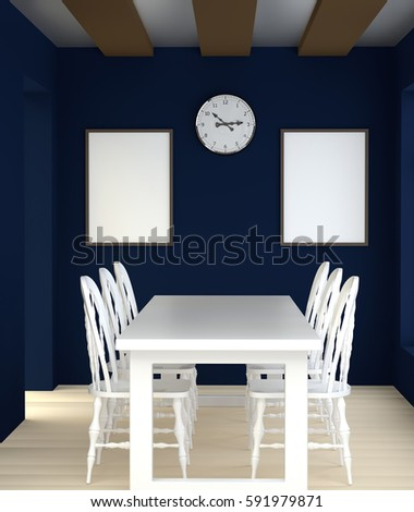 abstract 3d interior dining room white stock illustration
