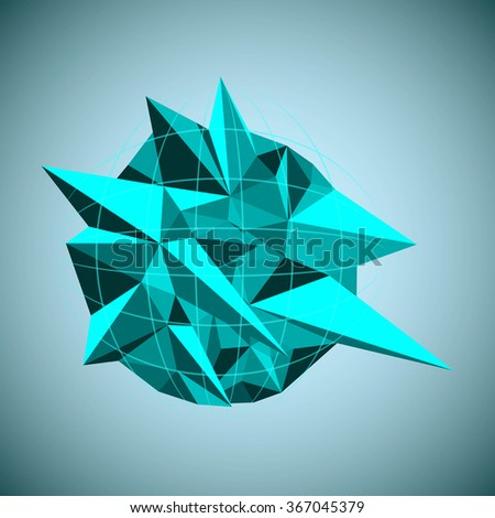 Abstract 3d Low Polygonal Background. Raster Illustration - stock photo