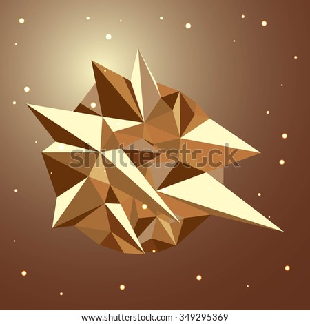 abstract 3d low polygonal geometric shape isolated on beige background. raster illustration - stock photo