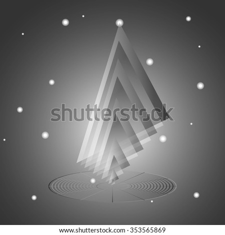 abstract 3d low polygonal geometric shape isolated on grey background. raster illustration - stock photo