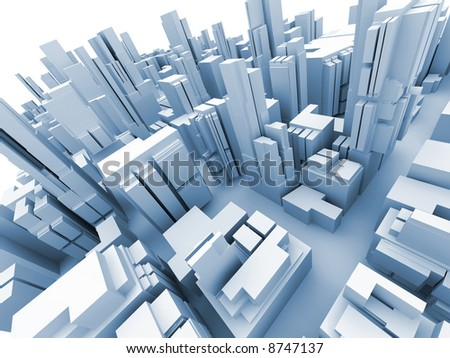 Abstract 3d model of  megacity - stock photo