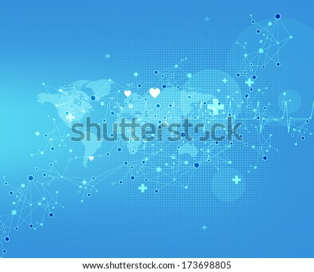 Abstract 3d molecules medical background - stock photo
