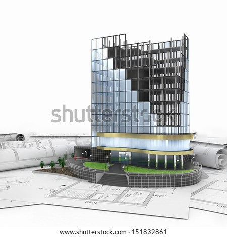 abstract 3d of building development concept - stock photo