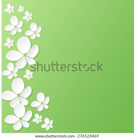 Abstract 3D paper flowers background with place for text. raster version illustration. - stock photo