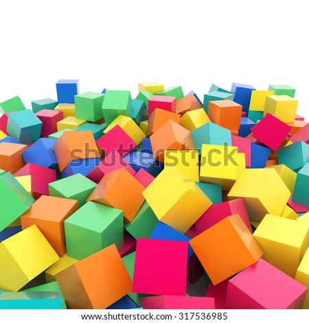Abstract 3d rainbow colored cubes on white, colorful abstract 3d plastic rainbow reflective cubes composition on white - stock photo