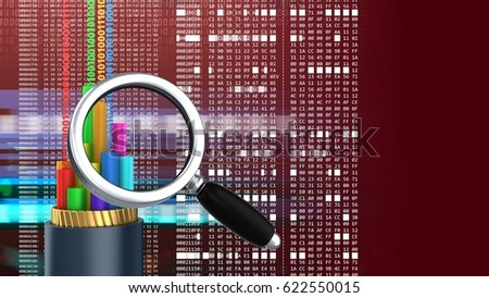 abstract 3d red background with cable magnify glass and hexadecimal code