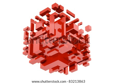 Abstract 3d red Cube on white