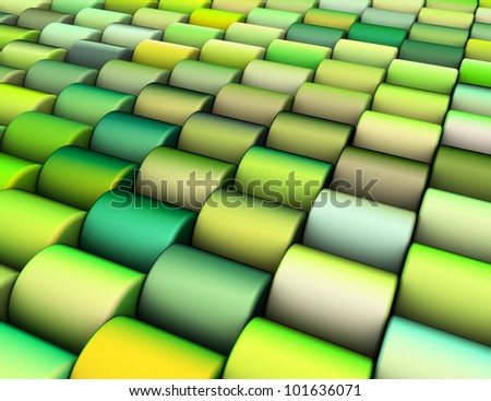 abstract 3d render multiple green yellow cylinder backdrop pattern - stock photo