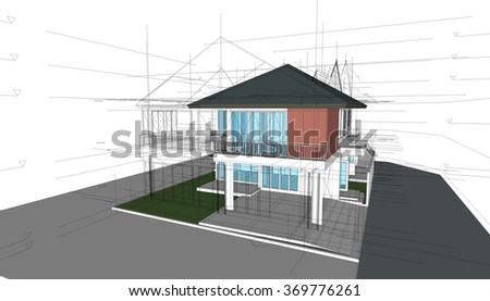 Abstract 3D render of building structure. Construction graphic idea for template design. - stock photo