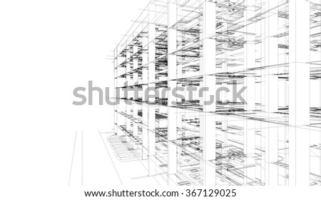 Abstract 3D render of building wireframe. Architectural construction graphic idea. - stock photo