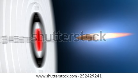 Abstract 3d render of flying bullets to the target with added motion blur - stock photo