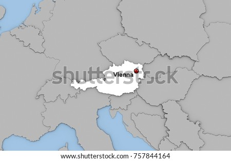 Abstract 3d Render Map Austria Highlighted Stock Illustration