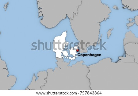 Abstract 3d Render Map Denmark Highlighted Stock Illustration