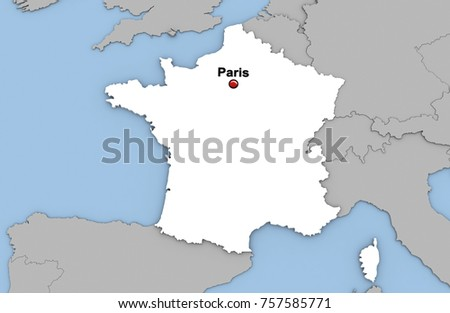 Abstract 3 D Render Map France Highlighted Stock Illustration