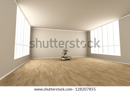 Abstract 3D rendered illustration of a depressed woman. - stock photo