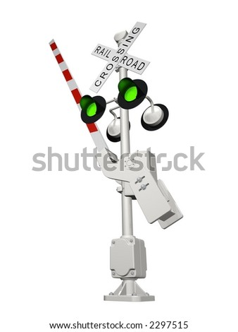 Abstract 3D rendered railroad crossing with green light (position OPEN) - stock photo