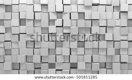 Abstract 3D rendering background in the form of a wall of white color which consists of cubes