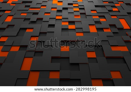 Abstract 3d rendering of black and orange futuristic surface with squares. Sci-fi background. - stock photo