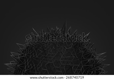 Abstract 3d rendering of black sphere with chaotic structure. Dark background with wireframe and globe in empty space. Futuristic shape. - stock photo